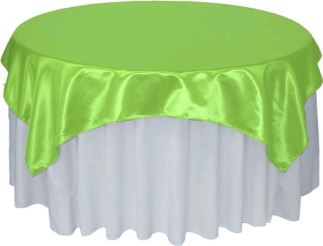Where to rent 72  Square Lime Satin Overlay Linen in Haslett, Okemos, East Lansing and Greater Lansing