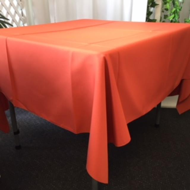 Where to rent 70  Square Burnt Orange Linen in Haslett, Okemos, East Lansing and Greater Lansing