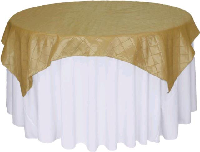 Where to rent 72  Square Soft Gold Pintuck Linen in Haslett, Okemos, East Lansing and Greater Lansing