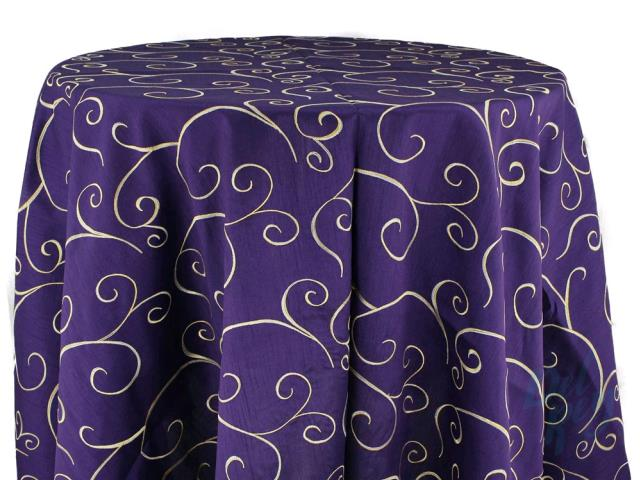 Where to rent 120  Round Eggplant Swirl linen in Haslett, Okemos, East Lansing and Greater Lansing