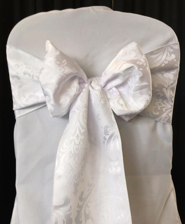 Where to rent Chair Sash, White Damask in Haslett, Okemos, East Lansing and Greater Lansing