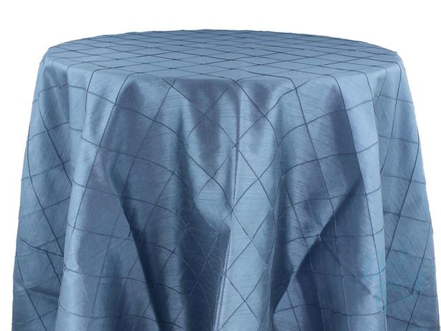 Where to rent 132  Round Slate Blue Pintuck Linen in Haslett, Okemos, East Lansing and Greater Lansing