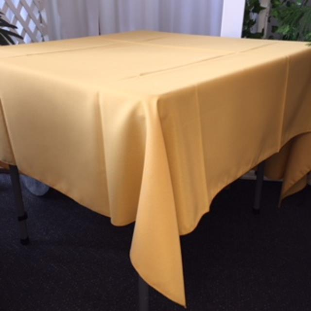 Where to rent 72  Square Gold Poly Linen in Haslett, Okemos, East Lansing and Greater Lansing