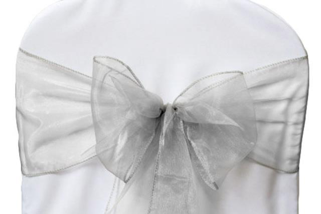 Where to rent Chair Sash, Silver Organza 6 in Haslett, Okemos, East Lansing and Greater Lansing