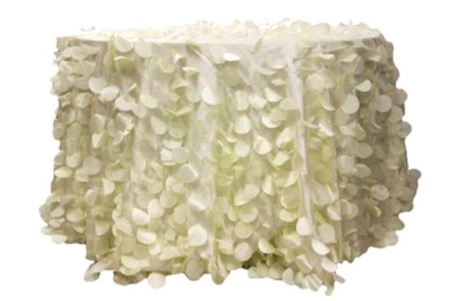 Where to rent 58  Square Ivory Leaf Taffeta Overlay in Haslett, Okemos, East Lansing and Greater Lansing