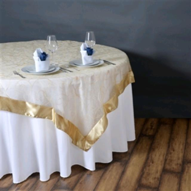 Where to rent 72  Square Embroidered Champagne Overlay in Haslett, Okemos, East Lansing and Greater Lansing