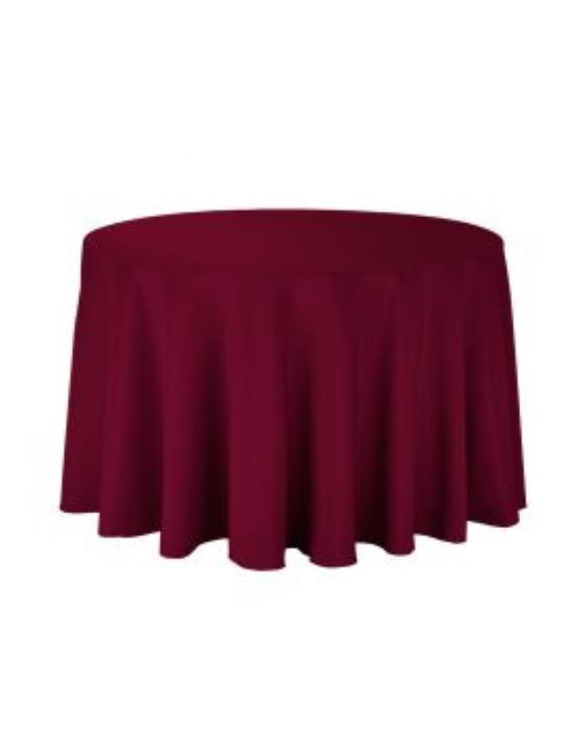Where to rent 108  Round Burgundy Poly Cotton Linen in Haslett, Okemos, East Lansing and Greater Lansing