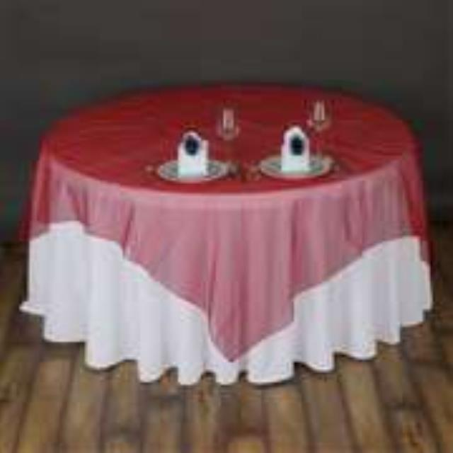 Where to rent 72  Square Red Organza Overlay in Haslett, Okemos, East Lansing and Greater Lansing
