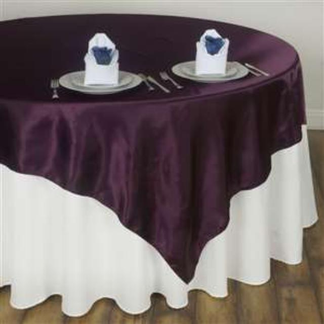 Where to rent 72  Square Eggplant Satin Overlay in Haslett, Okemos, East Lansing and Greater Lansing