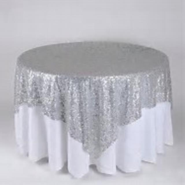 Where to rent 72  Sq Silver Sequin Table Linen in Haslett, Okemos, East Lansing and Greater Lansing
